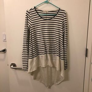 Anthropologie Lili's Closet striped high low shirt